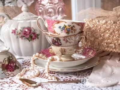 Vintage tea party decorations at home