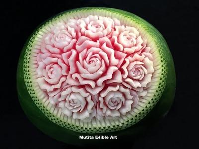 Watermelon Rose Flower | Wave Pattern | Advanced Lesson 48 | Mutita Art Of fruit & Vegetable Carving