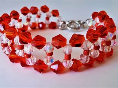 Basic Beaded Bracelet Design using Crystal Beads. Easy tutorial for beginners