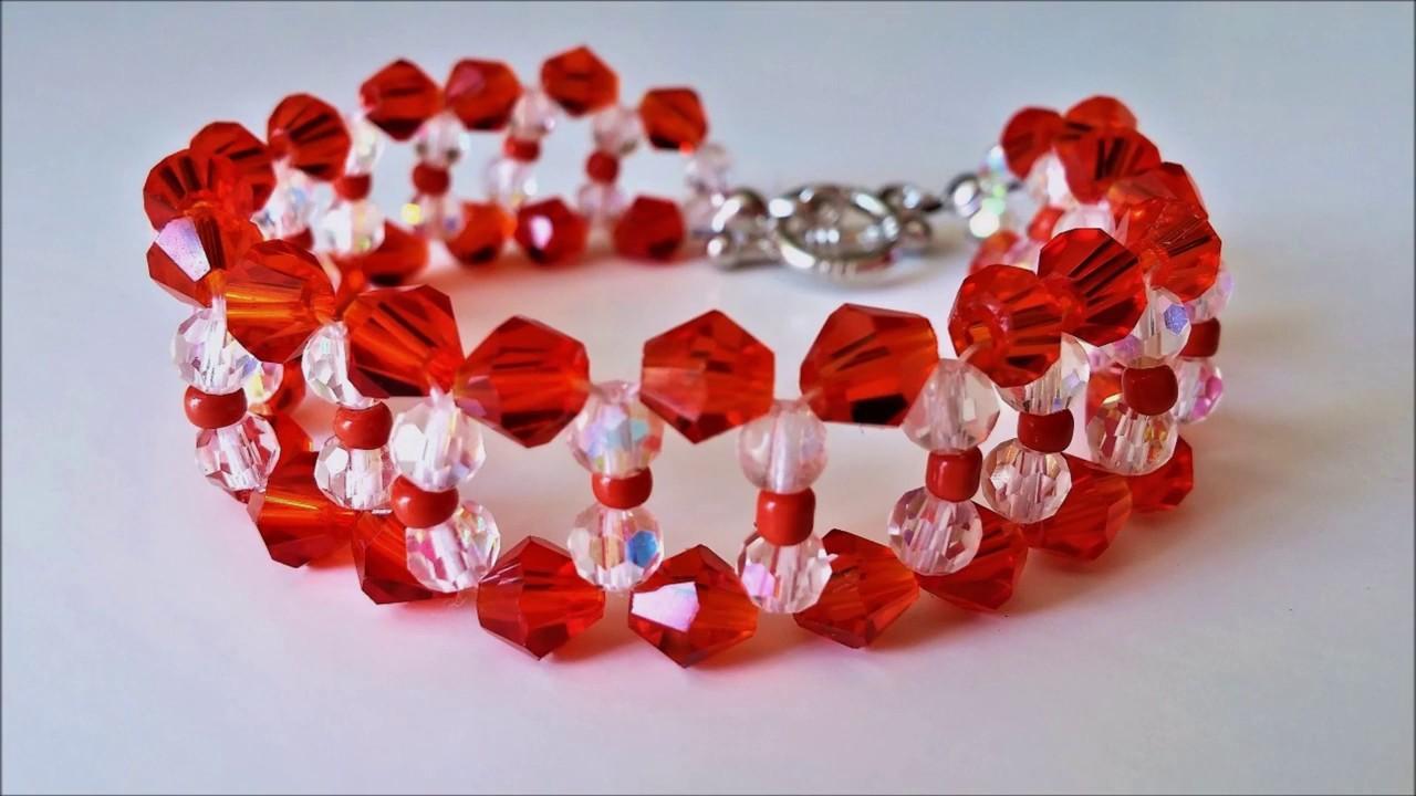 Basic Beaded Bracelet Design using Crystal Beads. Easy tutorial for beginners