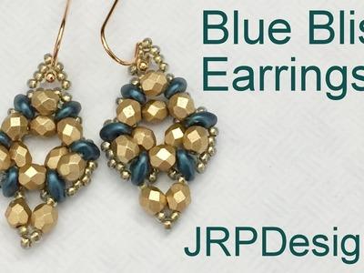 Blue Bliss Earrings-Beginner to Intermediate Beading Tutorial