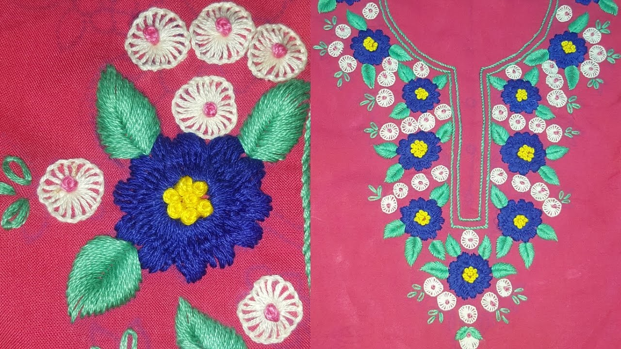 Different Stitches Neck Design Hand Embroidery