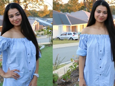 DIY: Convert Men's shirt. T-shirt to off shoulder top | Recycle old shirt
