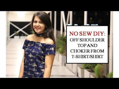 DIY: Convert Old T-shirt.shirt into Off-Shoulder and Choker