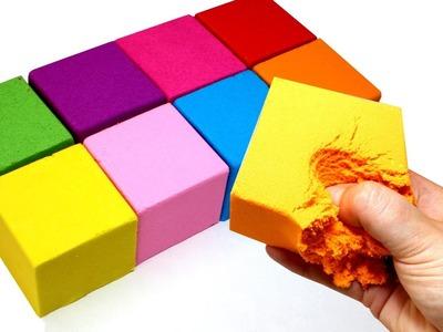 DIY How to Make Giant Kinetic Sand Rainbow Cubes Kinetic Egg Surprises
