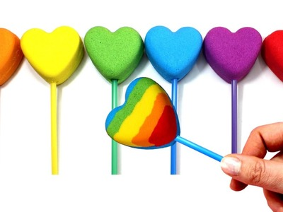 DIY Kinetic Sand Popsicles Hearts Ice Cream and Play Doh Rainbow Learn Colors