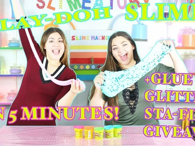 DIY: PLAY-DOH SLIME IN 5 MINUTES! W.JUST AMEERAH+SLIME SUPPLY GIVEAWAY