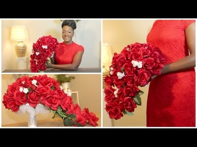 DIY: Rose Bridal Cascading Bouquet | Wedding | Waterfall | Teardrop Bouquet || Chanelle Novosey