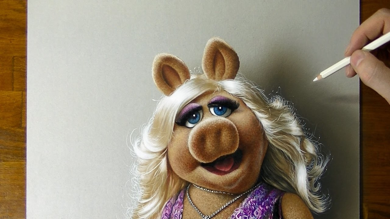 Drawing of Miss Piggy - How to draw 3D art