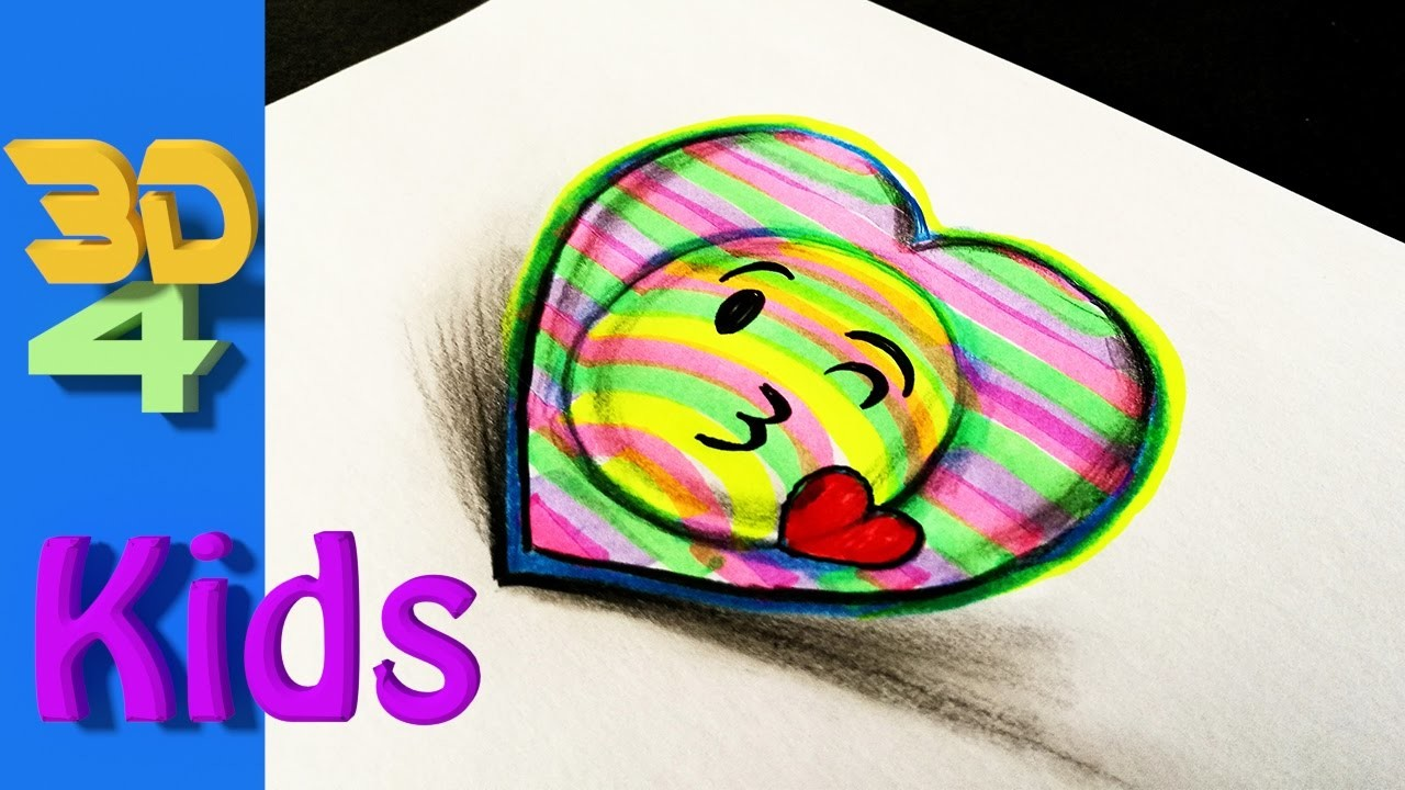 Easy 3d Drawing Draw Kiss Emoji And Heart For Kids