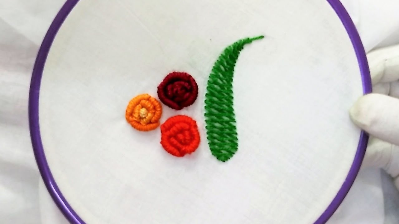 Easy hand embroidery rose with bullion knot stitch for
