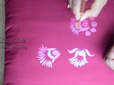 Fabric painting's | pillow cover designs | Sparkling Pearl Coiours | free hand fabric painting
