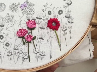 Flower Stem, Reverse Split Stitch, Hand Embroidery Tutorial