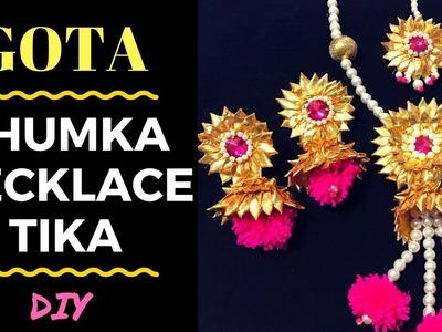 Gota Jewellery Making Tutorial | Necklace, Jhumka & TIkka by Live Creative