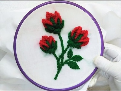 Hand Embroidery - 3D Flower-Buds with Button-hole bar stitch