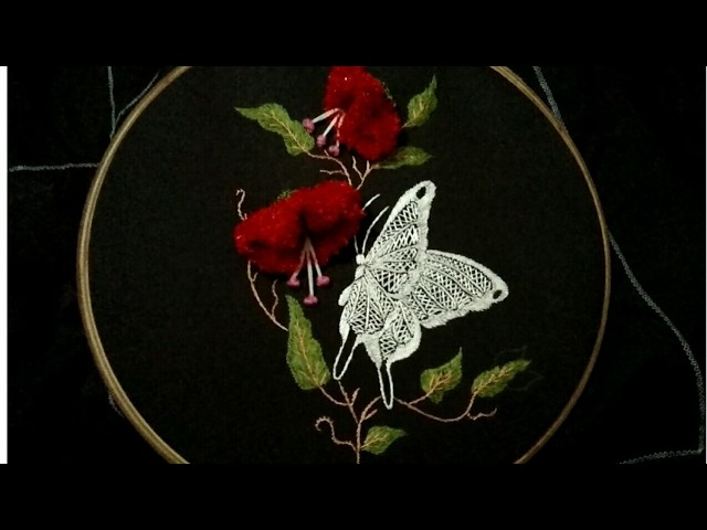Hand embroidery beautiful flower with butterfly