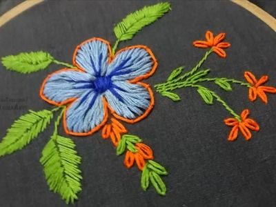 Hand Embroidery Flower Design Lazy Daisy & Buttonhole Stitch by Amma Arts