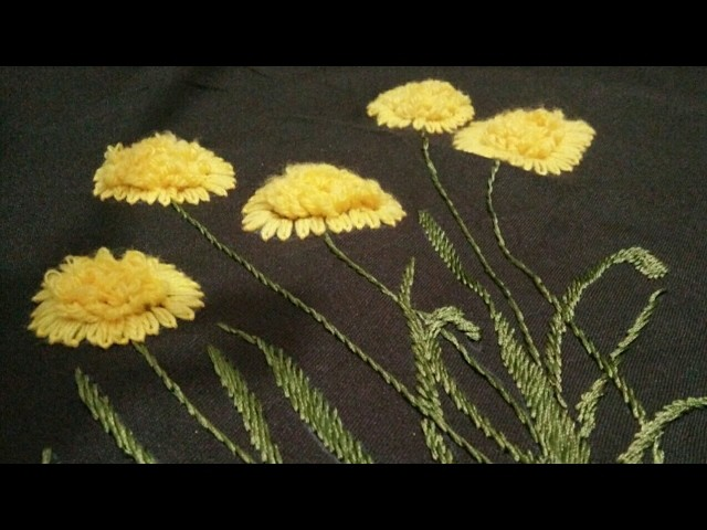 Hand embroidery grass flower with lazy Daisy and ring. chhalla stitch without aari