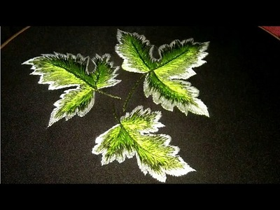 Hand embroidery ???? maple leaf tutorial for bed sheets or cushion cover
