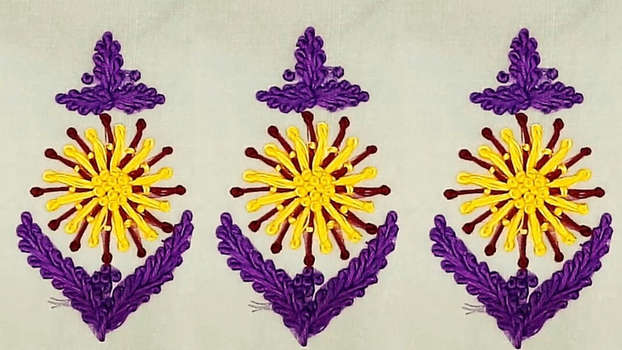 Hand embroidery pistel stitch flower with long