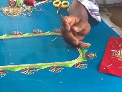 Hand embroidery tutorial for beginners, hand embroidery stitches, easy maggam work blouse designs