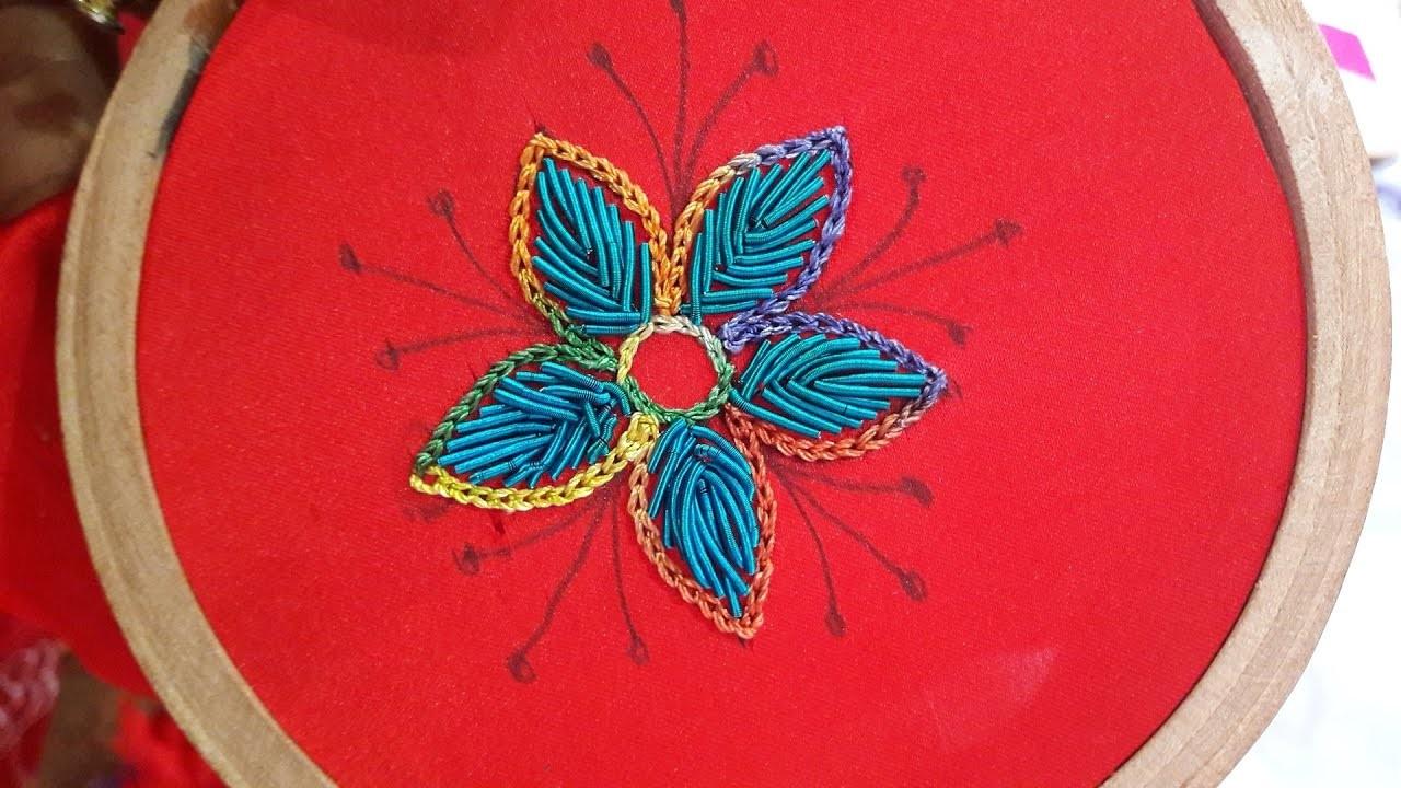 Hand embroidery zardosi stitch flower kora work my crafts