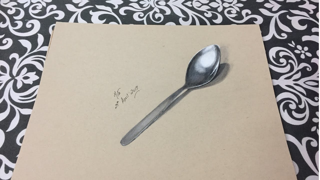 How To Draw 3d Art On Paper 3d Drawing Of A Spoon