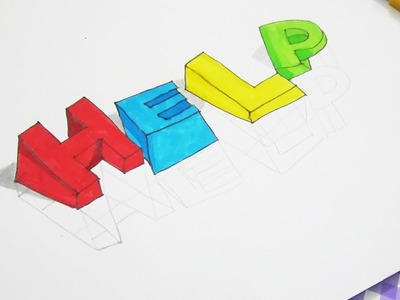 How to Draw 3D Letter HELP | Trick Art Drawing for kids
