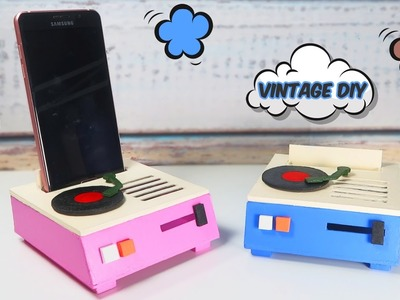 Mobile support as a vintage turntable - Vintage crafts and DIY's