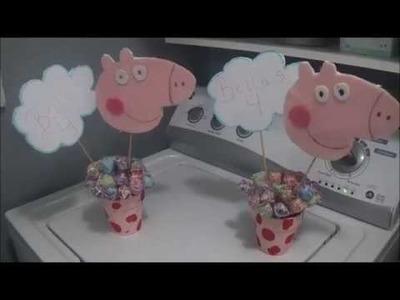 Peppa Pig Birthday on a budget. Diy Centerpiece.