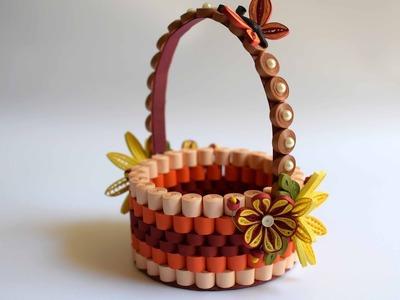 Quilled Basket Part 1: Paper Basket. Quilling Basket. Quilled Flower Basket
