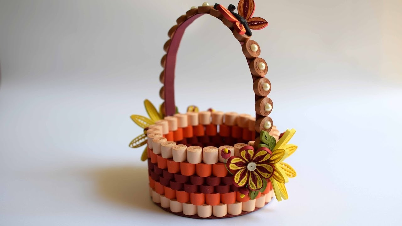 How To Make A Quilling Flower Basket : Quilled basket part paper quilling