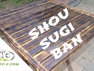 Shou sugi ban burning wood technique for outside table. DIY