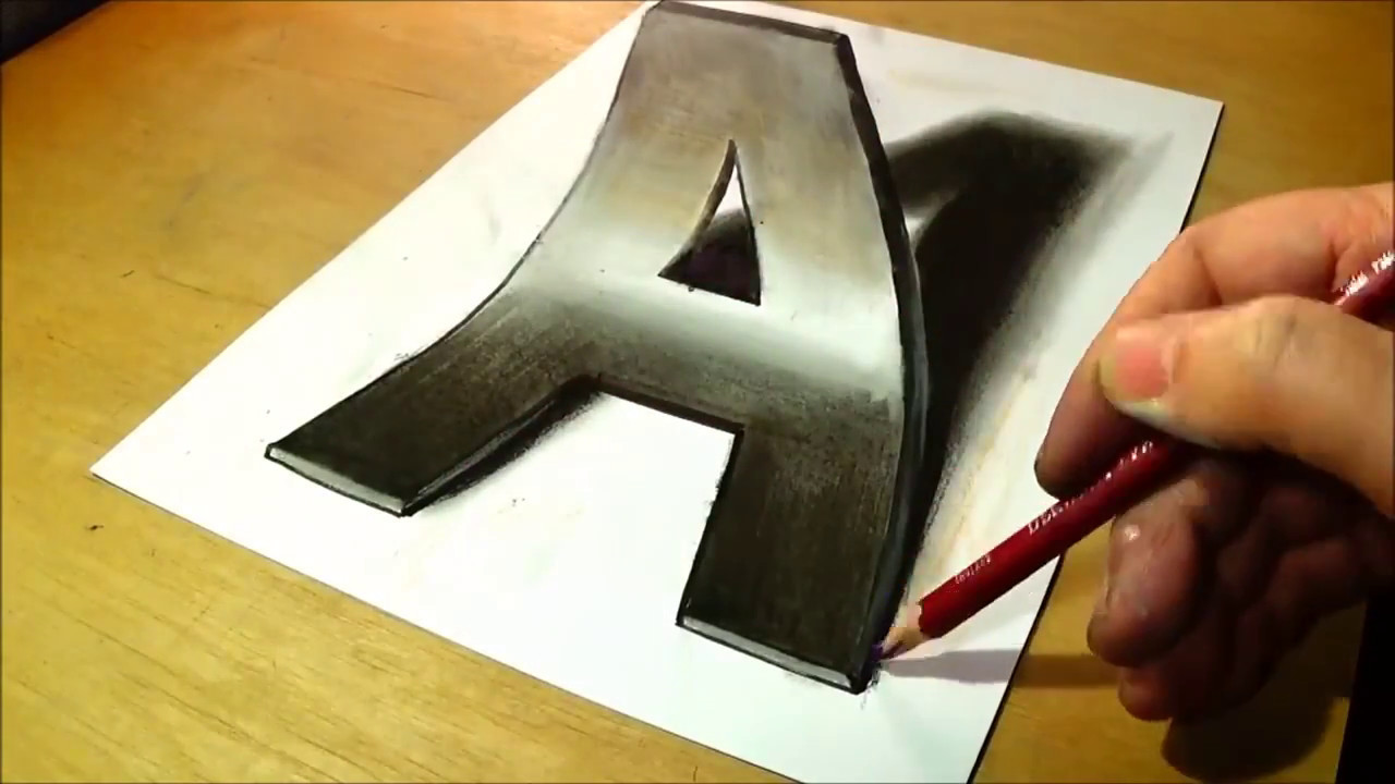 Trick Art Drawing 3d Letter A Anamorphic Illusion Epic Must Watch
