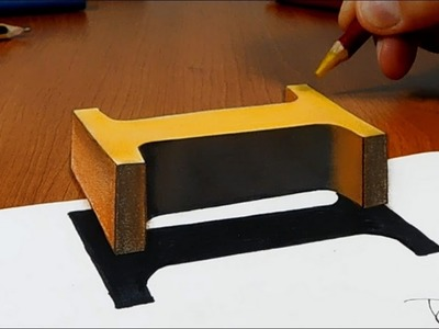 Try to do 3D Trick Art on Paper, floating letter I