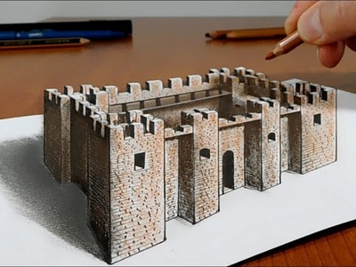 Try to do 3D Trick Art on Paper, Castle