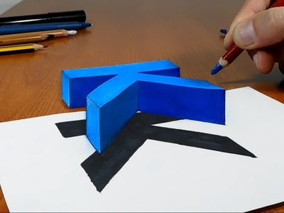 Try to do 3D Trick Art on Paper, floating letter k