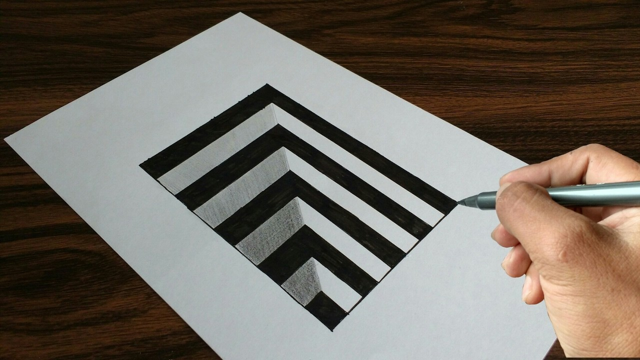 Very Easy Drawing 3d Hole On Paper My Crafts And Diy Projects