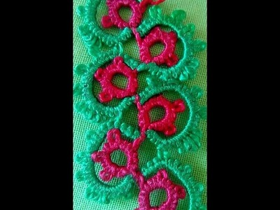 63- Shuttle tatting#Lesson-14,Double lace by continuous thread method(Hindi.Urdu)