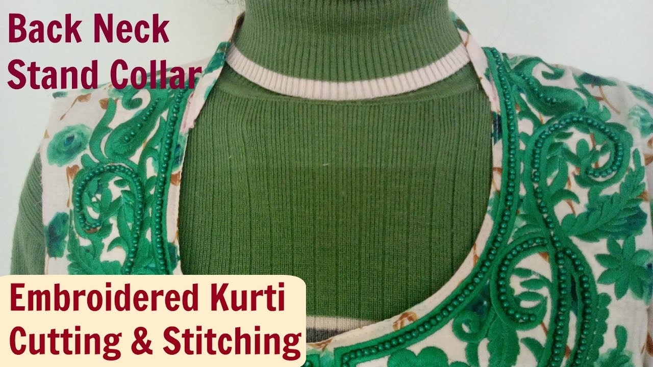 Stand Collar Kurti Designs : Back neck stand collar kurti sleeve slits style