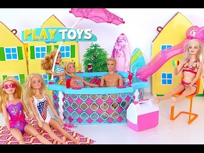 Barbie doll Swimming Pool Party - play baby doll swim toys for kids