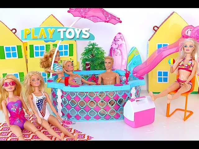 Barbie Doll Swimming Pool Party Play Baby Doll Swim Toys For Kids