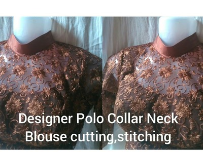 Designer Polo Collar Blouse With Transparent neck Pattern.cutting and stitching