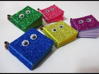 DIY : #192 Glitter mini NOTEBOOK with Cute Eyes ❤
