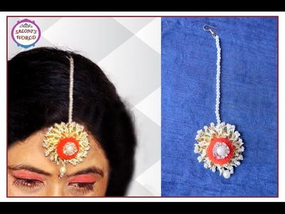 DIY How To Make Gota Maang Tikka for Bridal Jewellery Episode -3 ( in Hindi)  by Jyoti Sachdeva .