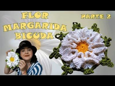 Flor de Crochê - Flor Margarida Bicuda - Parte 2.2