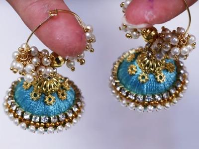 How To Make Silk Thread Jhumkas Hoop Style | Ring style silk Thread Jhumkas