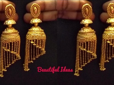 How to Make Silk thread Jhumkas.Modern Gold Jhumkas.South Indian Jhumkas Designs.Step Jhumkas.DIY.