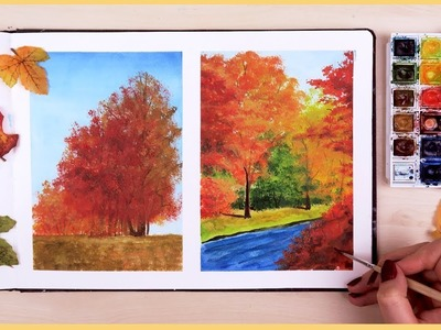 How to Paint a Fall Scenery with Watercolors for Beginners | Art Journal Thursday Ep. 18