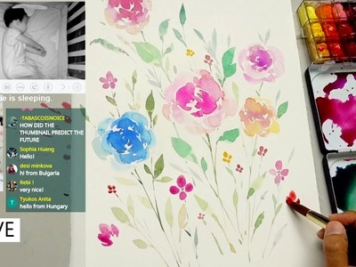 Live - Watercolor Painting for Beginners | Charlie is sleeping